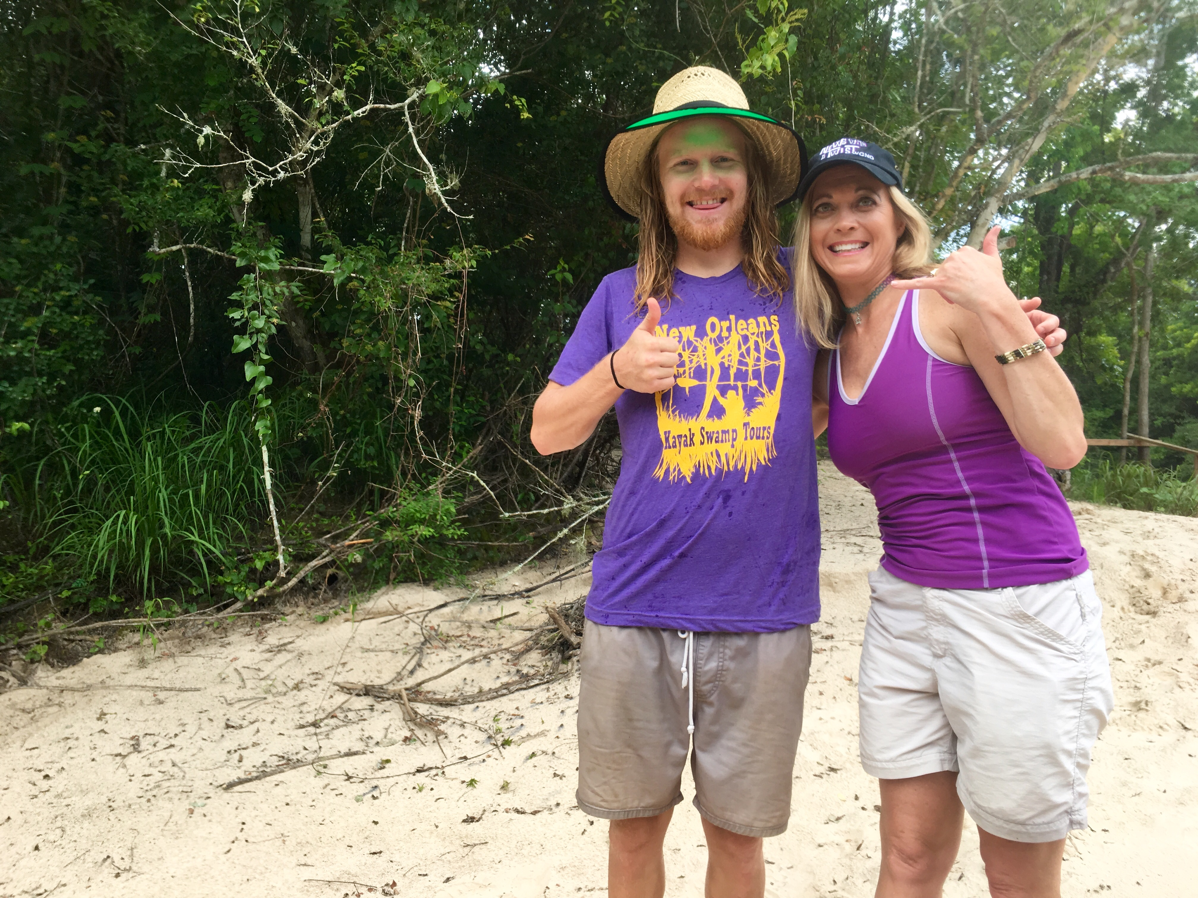 Jeffrey Cheetik from New Orleans Kayak Swamp Tours with News with a Twist's Travel Girl, Stephanie Oswald.