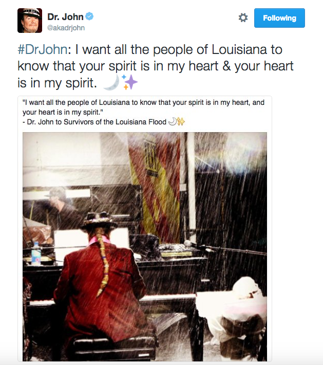 Dr. John sends love to the victims of recent flooding in Louisiana (Dr. John Twitter)