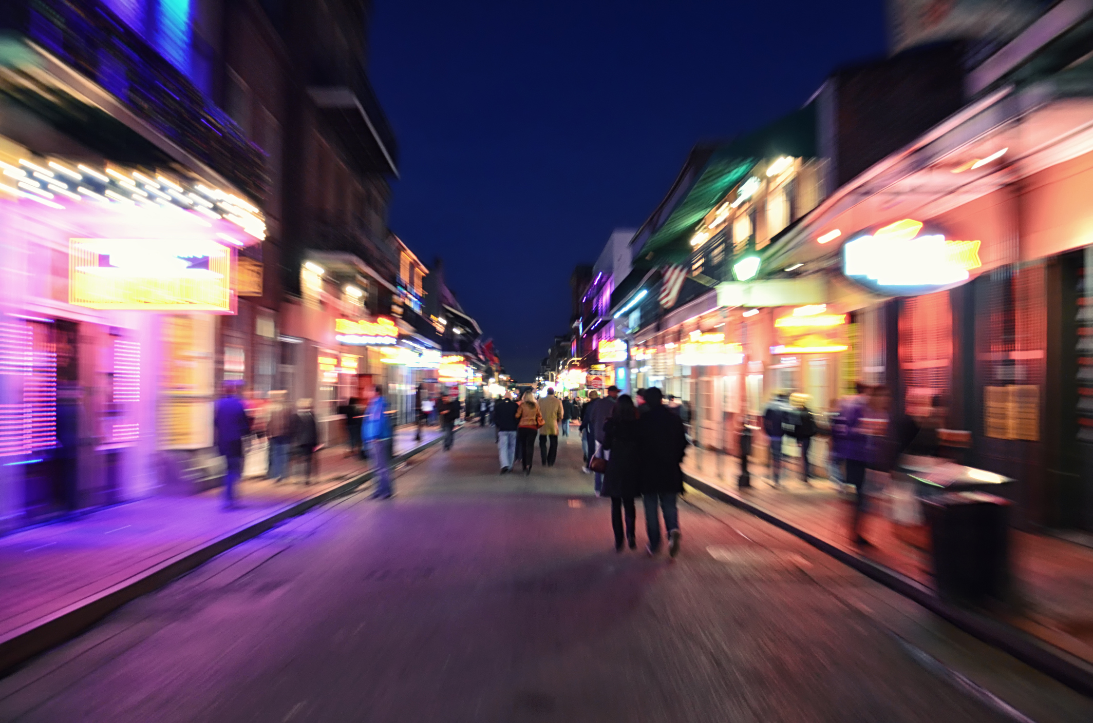 """""""Moving sense on Bourbon Street, a feeling of the nightlife in New Orleans famous French Quarter."""""""