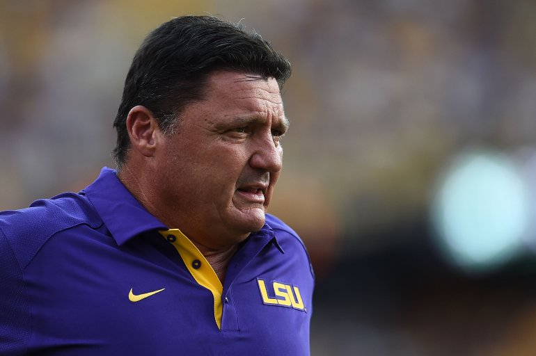 BATON ROUGE, LA - SEPTEMBER 05: Defensive line coach Ed Orgeron of the LSU Tigers watches action prior to a game against the McNeese State Cowboys at Tiger Stadium on September 5, 2015 in Baton Rouge, Louisiana. (Photo by Stacy Revere/Getty Images)