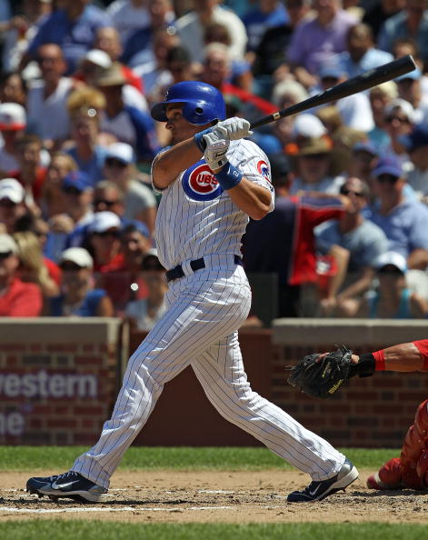 CHICAGO - JULY 16: Ryan Theriot #2 of the Chicago Cubs takes a swing against the Philadelphia Phillies at Wrigley Field on July 16, 2010 in Chicago, Illinois. The Cubs defeated the Phillies 4-3. (Photo by Jonathan Daniel/Getty Images)