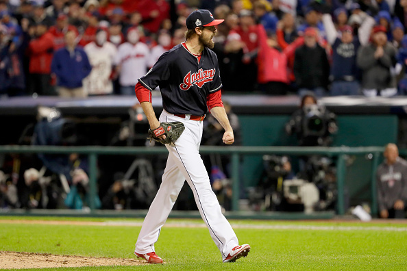 CLEVELAND, OH - OCTOBER 25: Andrew Miller #24 of the Cleveland Indians reacts after striking out Kyle Schwarber #12 of the Chicago Cubs (not pictured) to end the top of the eighth inning in Game One of the 2016 World Series at Progressive Field on October 25, 2016 in Cleveland, Ohio. (Photo by Jamie Squire/Getty Images)