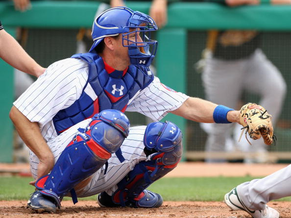 MESA, AZ - MARCH 03: Paul Bako #24 of the Chicago Cubs in action during the spring training game against the Oakland Athletics at HoHoKam Park on March 3, 2009 in Mesa, Arizona. The Cubs defeated the A's 6-4. (Photo by Christian Petersen/Getty Images)