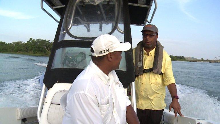 Congressman Cedric Richmond and LBJ on his boat (WGNO-TV)