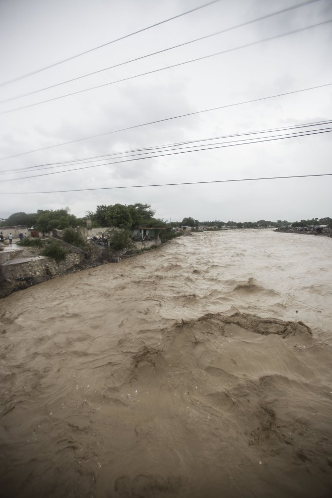 Water is still rising on the outskirts of Port-au-Prince, Haiti after Hurricane Matthew touched down early Tuesday October 4, 2016 morning.