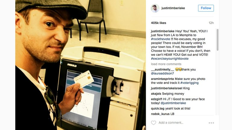 Justin Timberlake flew home to Tennessee to take advantage of early voting in his hometown of Memphis. He took a selfie of himself, but ballot selfies are prohibited in Tennessee.