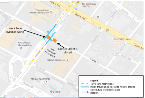 Detour map courtesy city of New Orleans