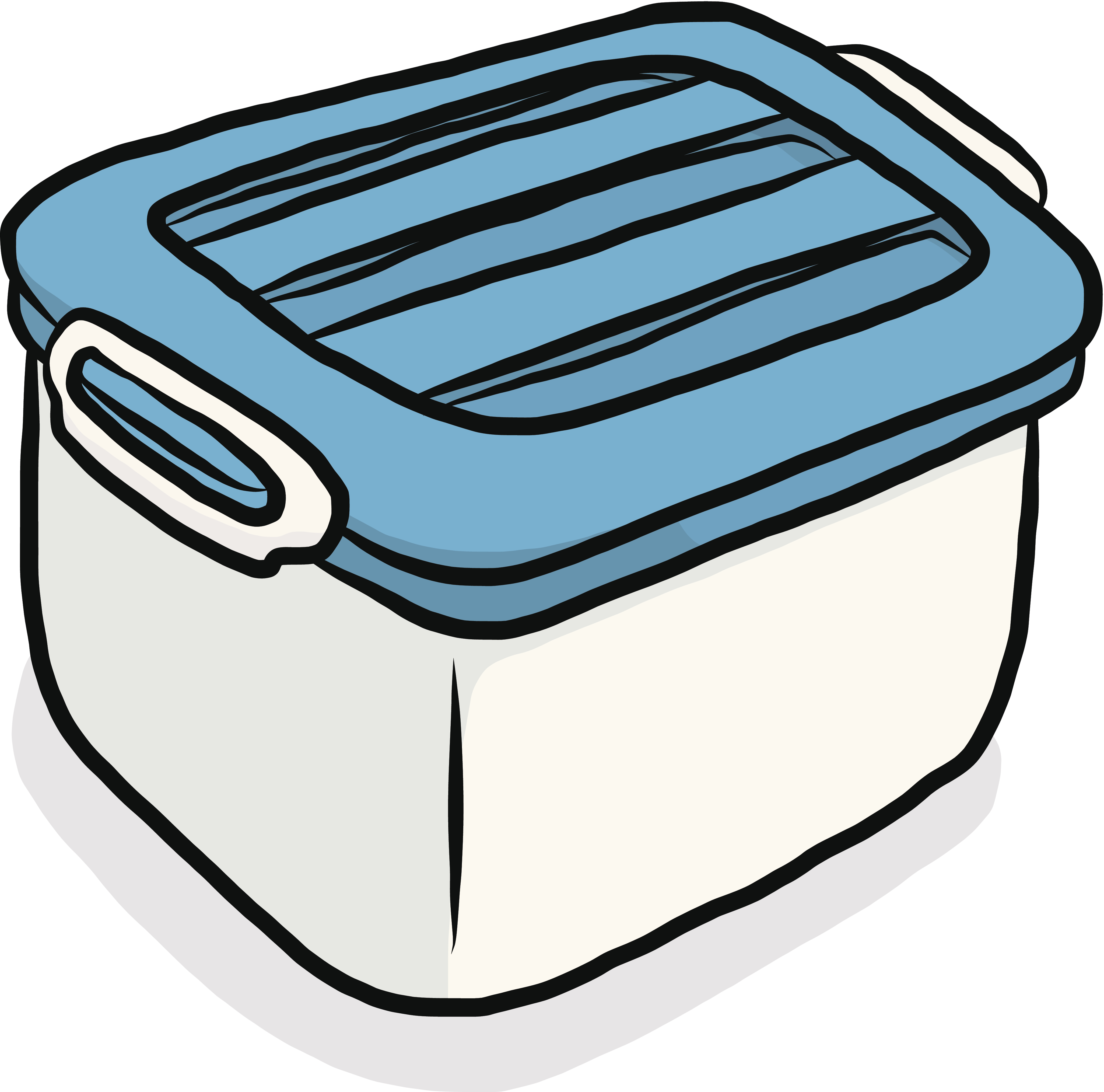 white plastic box with blue cover / cartoon vector and illustration, isolated on white background.