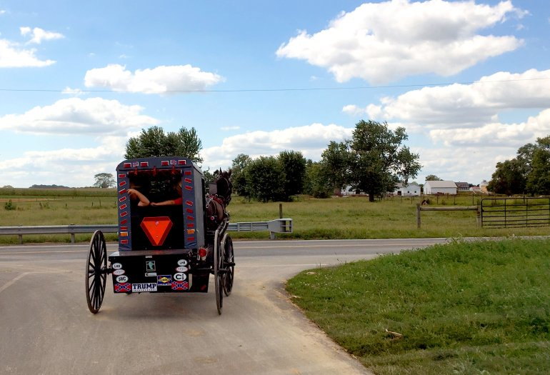 An Amish buggy with a sticker in support of Republican US presidential nominee Donald Trump drives down a road in rural Lancaster, Pennsylvania. / AFP / Daniel SLIM (Photo credit should read DANIEL SLIM/AFP/Getty Images)
