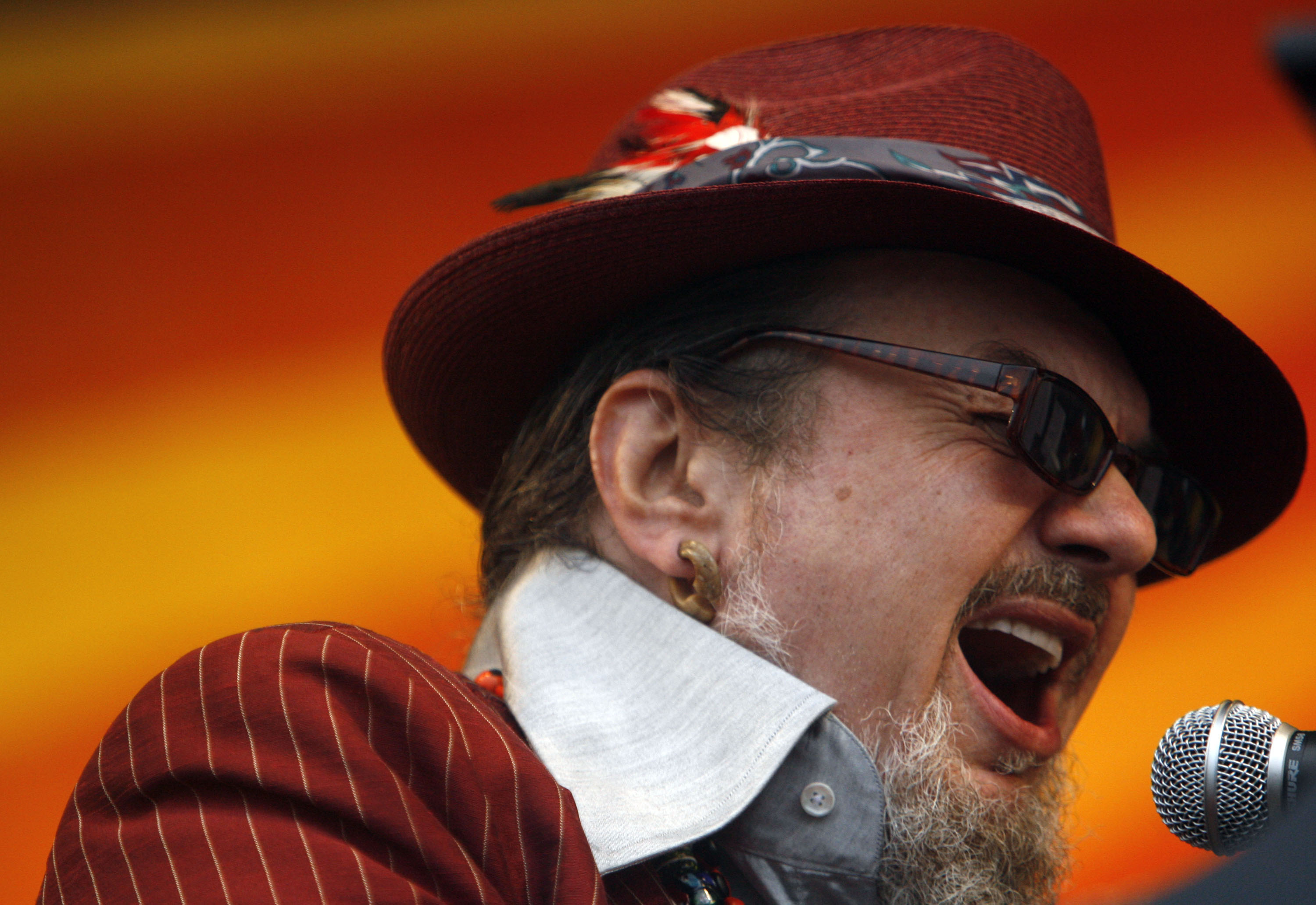 NEW ORLEANS - APRIL 26:  Singer-songwriter Dr. John performs during day two of the New Orleans Jazz & Heritage Festival at the Fair Grounds Race Course April 26, 2008 in New Orleans, Louisiana.  (Photo by Sean Gardner/Getty Images)