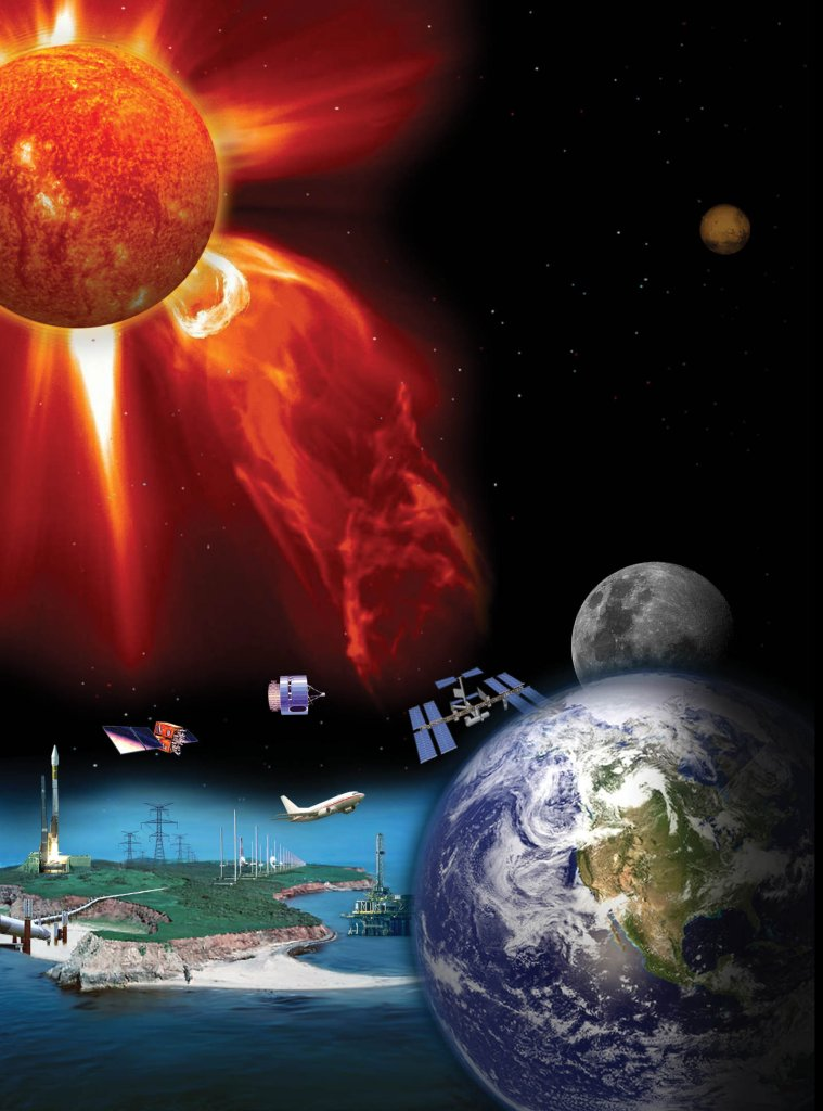 Space weather refers to conditions on the sun and in the space environment that can influence the performance and reliability of space-borne and ground-based technological systems. Credits: NASA