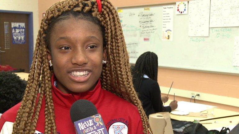 Diamond Powell, art student at Kipp Central City Academy (WGNO-TV)