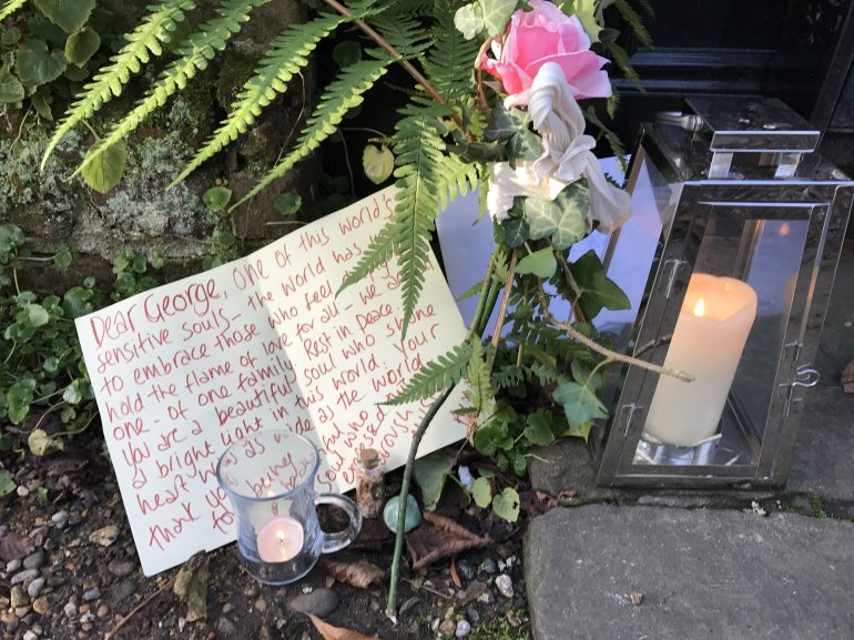 George Michael Floral Tributes left the morning after his death. These tributes were left his north London home in Highgate - not his home in Oxfordshire in which he died.