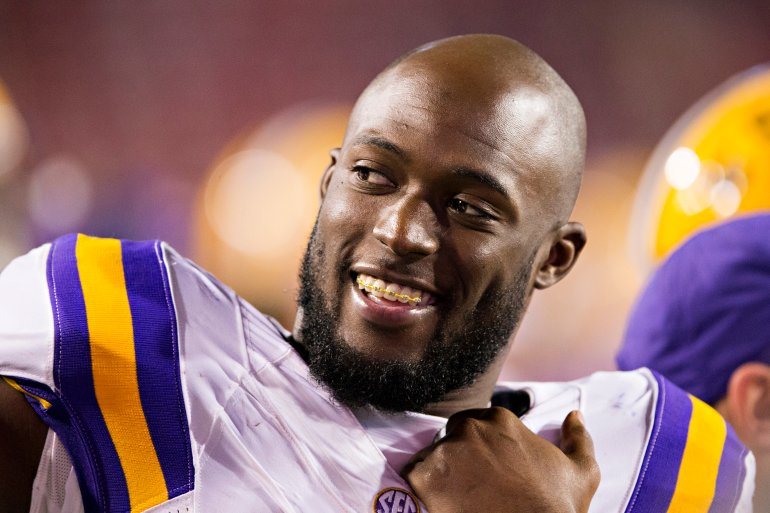 FAYETTEVILLE, AR - NOVEMBER 12: Leonard Fournette #7 of the LSU Tigers is all smiles on the sidelines during a game against the Arkansas Razorbacks at Razorback Stadium on November 12, 2016 in Fayetteville, Arkansas. The Tigers defeated the Razorbacks 38-10. (Photo by Wesley Hitt/Getty Images)