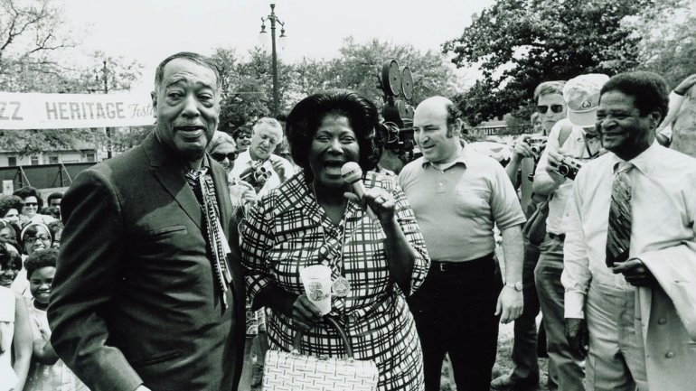 Duke Ellington, Mahalia Jackson, and George Wein at the New Orleans Jazz and Heritage Festival, 1970 (The Historic New Orleans Collection)