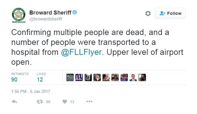 Multiple people were killed in a shooting at the Fort Lauderdale airport on Friday, January 6, 2017, the Broward County Sheriff's Office said on Twitter. The gunman is in custody and was a lone shooter, Broward County Mayor Barbara Sharief told CNN.