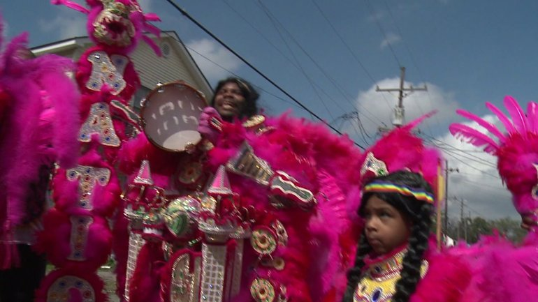 Mardi Gras Indians in New Orleans February 28, 2017 (WGNO-TV)