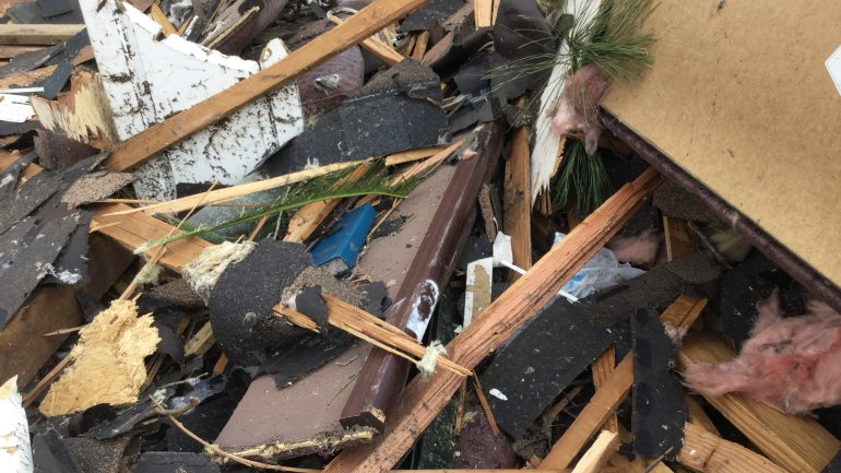 Tornado damage on Schindler Street in New Orleans East.