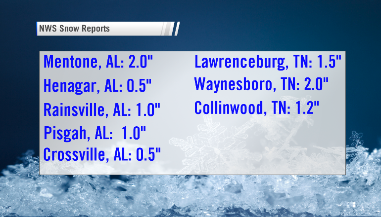 Snowfall Reports from across the Tennessee Valley