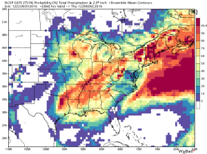 "GEFS probability of at least 2"" of rain through 12/8 (WxBell)"