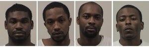 L to R: Robert Eugene Davis, Jamie Ladae Kelly, Timothy Jabbar Smith, Savontae Terrell Shoulders (Photos: Madison County Detention Center)