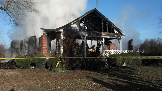 The home, after the fire on March 14, 2013. (Photo: Carter Watkins/WHNT News 19)