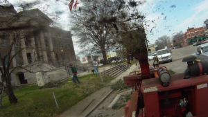 View from inside the chipper being used to grind smaller limbs during removel of the Atlas Cedar at the Limestone County Courthouse Saturday afternoon. (Photo: Al Whitaker)