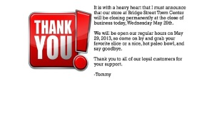 This is the image on Tommy's Pizza website. The popular pizza place closed Wednesday.