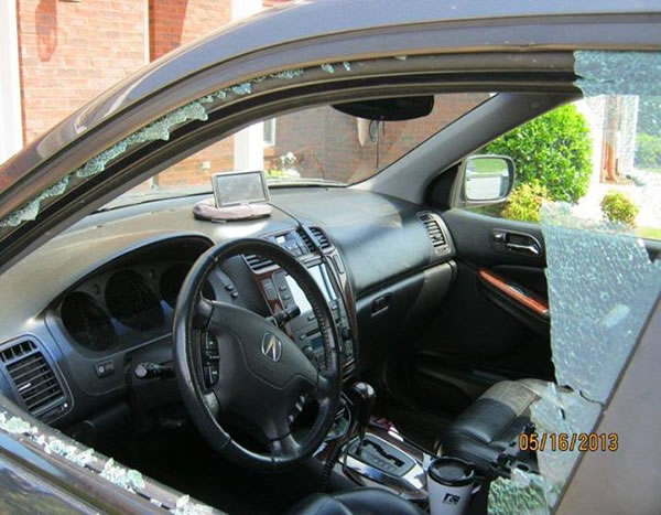 Someone broke into this car in May 2013. (Photo: Madison Police Dept.)