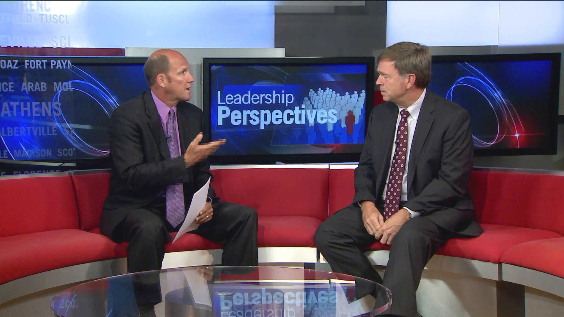 L to R: Paul Finley and Tommy Battle discuss city issues on WHNT News 19's Leadership Perspectives. (July 2013)