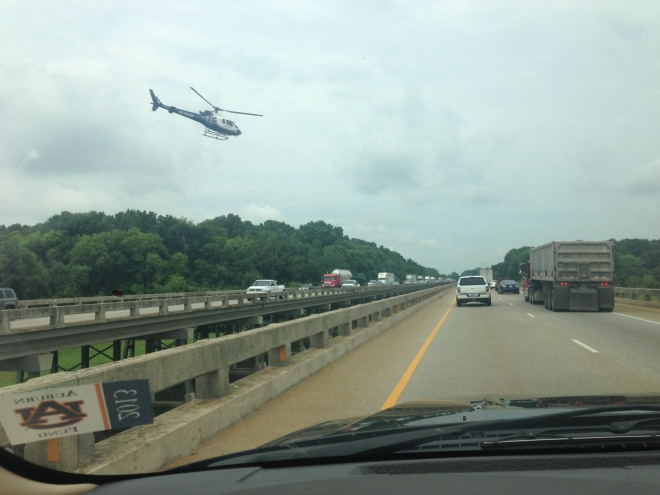 MedFlight helicopter that transported man who jumped from I-65 Tennessee River bridge to Huntsville Hospital. (Photo credit: Taylor Wesson)