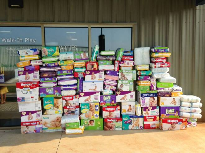 Diapers piled high outside Kidventure in Madison.