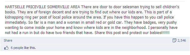 One of the Facebook posts that is circulating in north Alabama (provided by WHNT News 19 viewer)