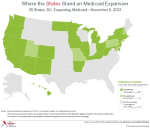 Where the States Stand on Medicaid Expansion (Graph courtesy: The advisory Board Company)