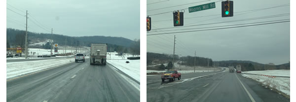 Left: Traffic at the base of Chapman Mountain, getting ready to travel up it. Right: Traffic on Highway 72 East. Photos taken at 9:15 a.m. (Denise Vickers/WHNT News 19)