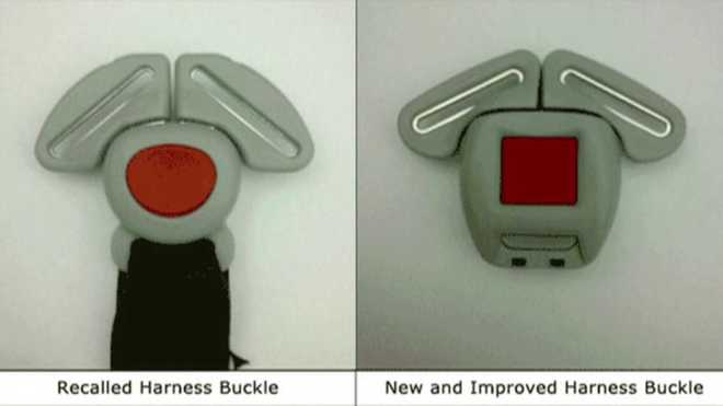 Recalled harness buckle (L) and new and improved harness buckle (R)