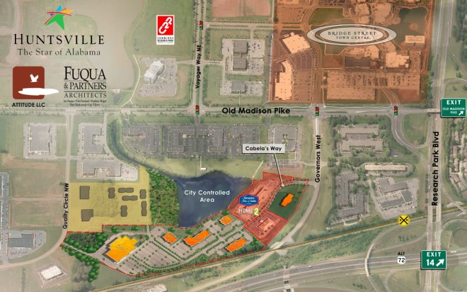 Map showing where Cabela's will be built, just south of Old Madison Pike along Governors Drive West.