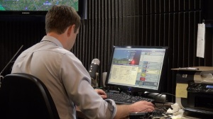 Meteorologist Brandon Chambers works on his WHNT New 19 at Noon forecast (Photo: David Wood)