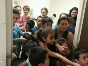 Undocumented child immigrants held at a Customs and Border Protection facility in South Texas. (Credit: Office of U.S. Rep Henry Cuellar, June 11, 2014/MGN Online)