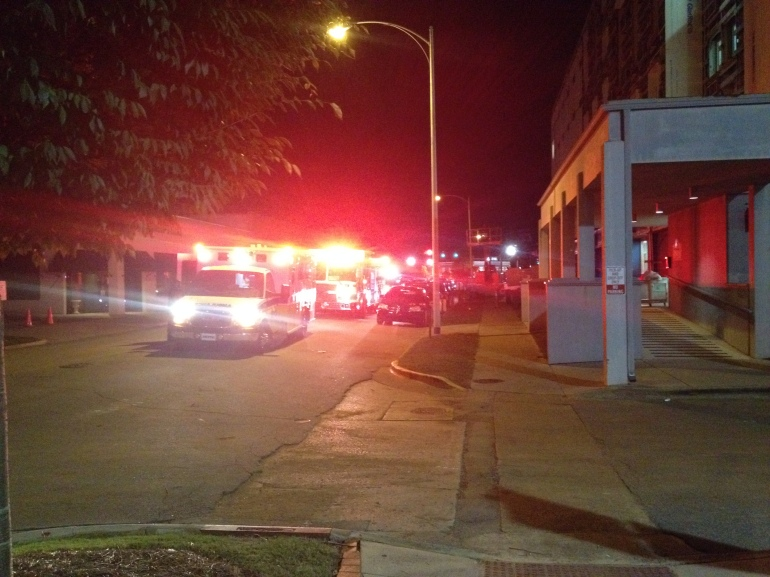 Police respond to the cutting at Todd Towers on Thursday night. (Photo: Shane Hayes/WHNT News 19)