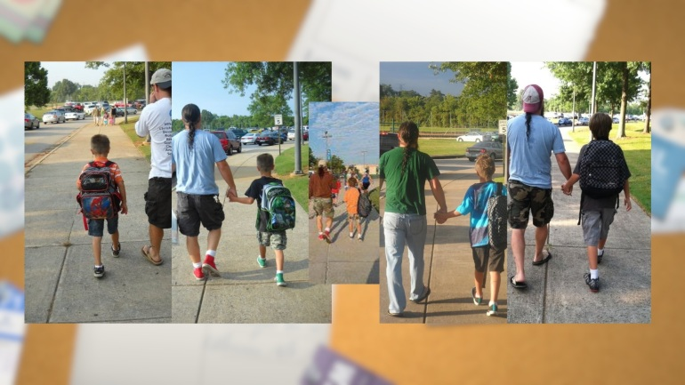 These photos by mom, Kim Roberts, capture dad and son and the first day of school from Kindergarten to 4th grade. (Photo: David Wood)