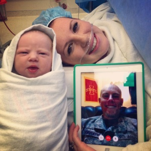 Sergeant Vorrath used Facetime to watch his wife give birth to their daughter in Ames, Iowa. (Courtesy: Mary Greeley Medical Center)