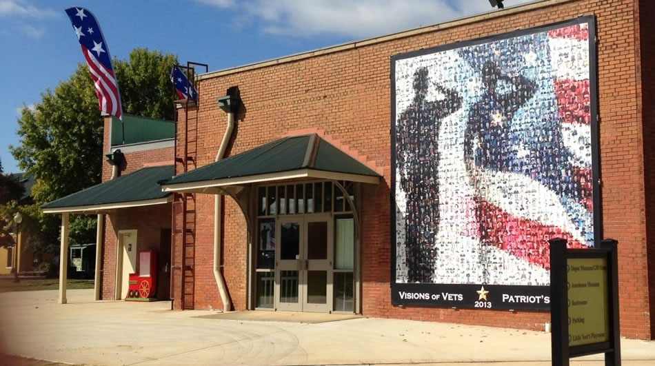 The 2013 Patriot's Mosaic is still on display, but has been moved around the corner of the building to make room for the 2014 image to be unveiled next week. (Photo: Facebook.com/visionsofvetshsv)