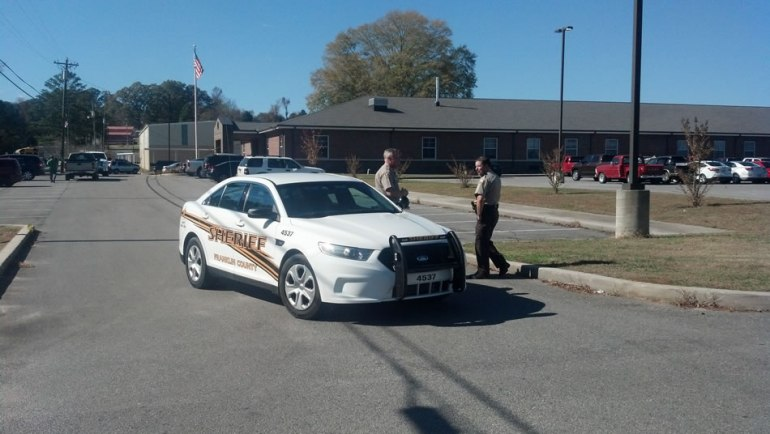 The Franklin County Sheriff's Office investigates a bomb threat on Thursday at Tharptown High School.  (Photo: Carter Watkins/WHNT News 19)