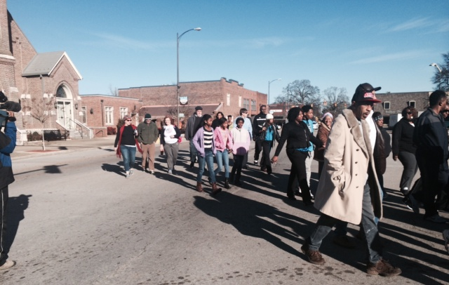 A group marches near the Limestone County Courthouse on Monday as part of the Martin Luther King Day activities. (Photo: Beth Jett/WHNT News 19)