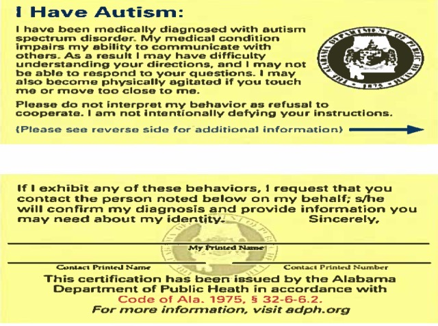 Autism Identification Card