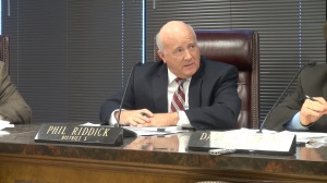 """I'm not sure that it's appropriate for government to be taking tax payer money and distributing it to charitable organizations,"" Phil Riddick argued. (PHOTO: David Wood, WHNT)"