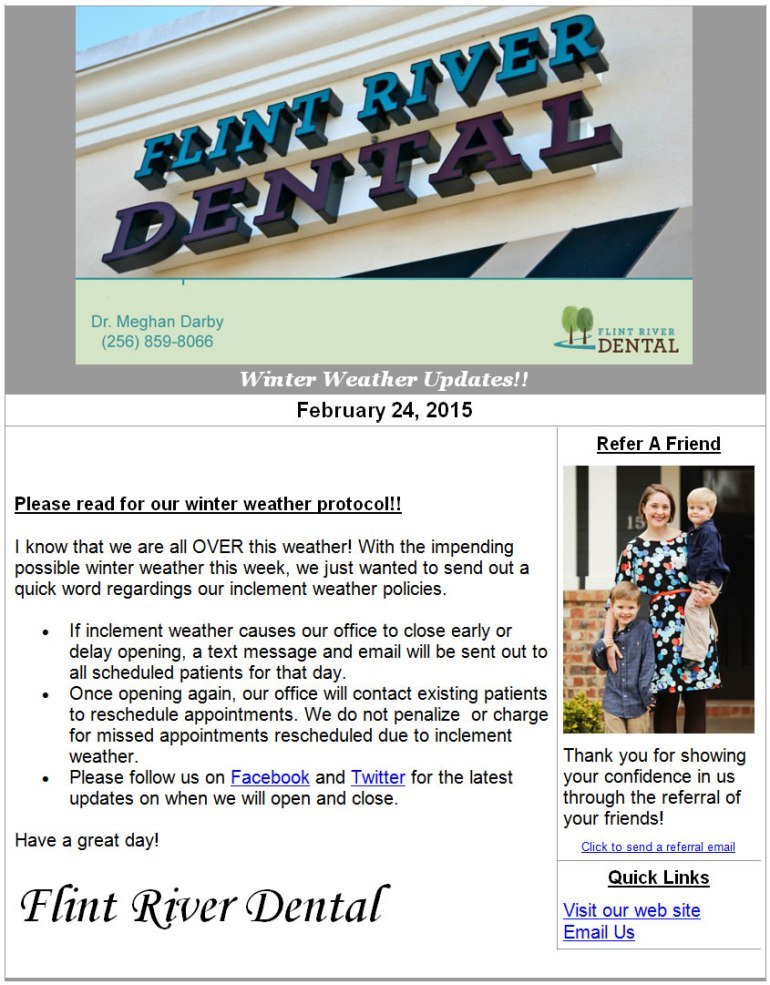 Flint River Dental uses email notifications to update its patients and staff.