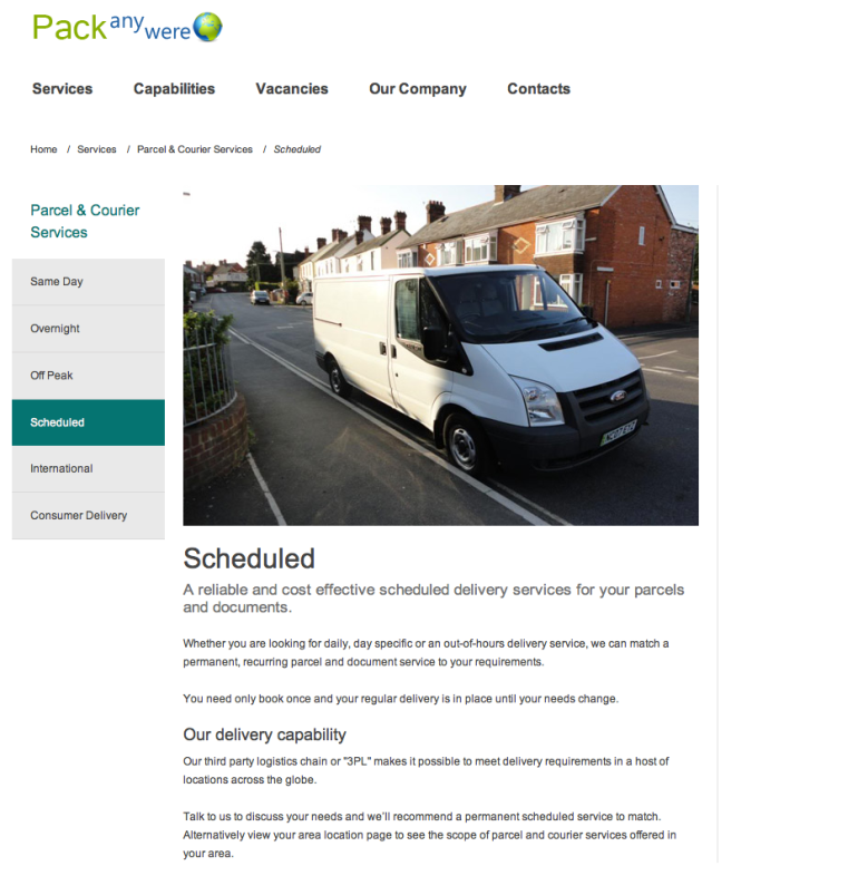 This screen shot shows a delivery vehicle with a European tag.