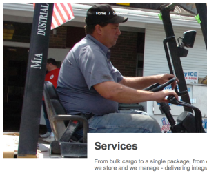 """This photo of a man operating a fork lift is on Packanywere.com. It was stolen from another company's website. The name on the roll cage bar behind the operator should read """"Miami Industrial,"""" who verified it was their equipment but had no idea the picture had been lifted and used on a scammer site."""